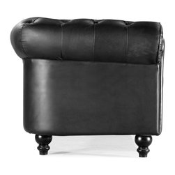 Zuo Modern - Zuo Modern Aristocrat Modern Armchair X-001009 - A modern take on a classic shape with ruffling, tufting, and buttons, the Aristocrat series comes in either black or white leather or silver leatherette with wood legs.