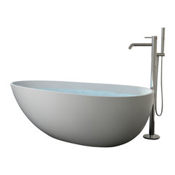 Badeloft - Modern Egg Shaped Stone Resin Freestanding Bathtub, Matte, Extra Large - Freestanding bathtub for your wellness oasis.  This Modern, Egg Shaped, Freestanding Bathtub is made out of stone resin.  Your choice of Matte White or Glossy White.  Several of our competitors charge 10% extra for Glossy but we do Not.  This model also comes in a larger size - BW-01-XL.  Comes with built-in overflow protection and a chrome pop-up plug drain.