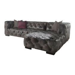 "Vintage Classics-Lazzaro - Grey Vintage Dublin Leather Chesterfield Sofa/Chaise - 2pc Set - Enjoy the style and design of the Dublin chesterfield sofa chaise. Upholstered in an hand antiqued grey leather, tufting all over and wood bloack shaped foot. Dimensions approx 118"" W x 42"" D x 30"" H."