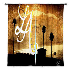 """DiaNoche Designs - Window Curtains Unlined - Corina Bakke LA Beach - DiaNoche Designs works with artists from around the world to print their stunning works to many unique home decor items.  Purchasing window curtains just got easier and better! Create a designer look to any of your living spaces with our decorative and unique """"Unlined Window Curtains."""" Perfect for the living room, dining room or bedroom, these artistic curtains are an easy and inexpensive way to add color and style when decorating your home.  The art is printed to a polyester fabric that softly filters outside light and creates a privacy barrier.  Watch the art brighten in the sunlight!  Each package includes two easy-to-hang, 3 inch diameter pole-pocket curtain panels.  The width listed is the total measurement of the two panels.  Curtain rod sold separately. Easy care, machine wash cold, tumble dry low, iron low if needed.  Printed in the USA."""