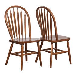 "Coaster - Freda Side Chair - Set of 2 - The single pedestal base offers a classic American appeal with its decorative shaping and splayed legs. The windsor side chairs offer the ultimate in comfort, making them a must-have in any home. Crafted from select woods and oak veneers, this dining collection is both durable and comfortable for the whole family to enjoy. Collection: Freda; Style: Country; Finish/Color: Warm Oak; Room Size: Moderate; Quick and Easy set up; Dimensions: 19.75""L x 19.00""W x 38.75""H, Seat Height: 17.75"", Seat Depth: 16.00"""