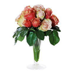 Jane Seymour Botanicals - Roses in Trumpet Glass - These peach-colored roses might look fresh from the garden, but their beauty will far outlast that of their non-artificial cousins. Set in a trumpet glass vase with water illusion, this permanent floral display will add a subtle romantic touch to any space in your home.
