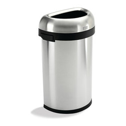 Frontgate - simplehuman Semi Round Open Trash Can - Brushed stainless steel. Sturdy, nonskid base. Convenient easy-lift handles. Removable lid for quick bag change. Use with standard trash bags. Our simplehuman Semi Round Open Trash Can creates much needed space in high traffic areas. Perfect for hallways, office lobbies, kitchens or anywhere space is a premium, the straight side fits snuggly along walls to provide a large capacity for waste in a clean, modern design.  .  .  .  .  . Holds 60 liters or 15.85 gallons.