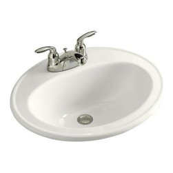 "KOHLER - KOHLER K-2196-4-0 Pennington Self-Rimming Drop-In Bathroom Sink - KOHLER K-2196-4-0 Pennington Self-Rimming Drop-In Bathroom Sink with 4"" Centerset Faucet Holes in White"