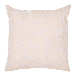 """Jaipur Rugs - Taupe/Ivory color linen shula poly fill pillow 20""""x20"""" - Bruxelles is a high end linen pillow with embroidered and metallic accents.  Sophisticated and impeccably detailed."""