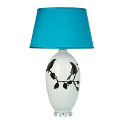 Loving Lighting - Ceramic Bird Table Lamp with Teal Silk Shade - Features: