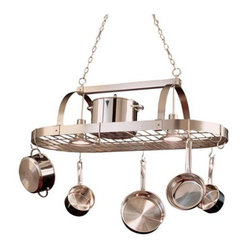 Satin Nickel Pot Rack Chandelier | LampsPlus.com