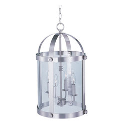 Maxim Lighting - Maxim Lighting Tara Entry Foyer Pendant in Satin Nickel - Shown in picture: Stately as old southern mansions - the Tara collection of entry lanterns is available in choice of Oil Rubbed Bronze or a more contemporary Satin Nickel. Curved Clear glass panels add authentic accents to these timeless fixtures.