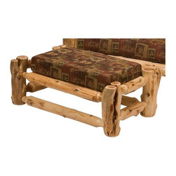 Fireside Lodge Furniture - Cedar Log Ottoman w Cushion (New Stripe) - Fabric: New StripeCedar Collection. Includes cushion. Cushion is a high-density foam with Dacron wra for lasting comfort. Northern White Cedar logs are hand peeled to accentuate their natural character and beauty. Individually hand crafted. Clear coat catalyzed lacquer finish for extra durability. 2-Year limited warranty. 40 in. L x 22 in. W x 16 in. H (35 lbs.)