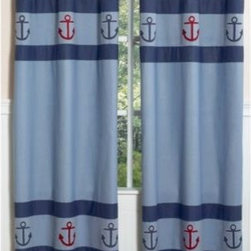Sweet Jojo Designs - Sweet Jojo Designs Nautical Nights Window Panel (Set of 2) - These lovely medium blue Sweet Jojo Designs Nautical Nights Window Panels feature two bands of anchors. These beautiful window treatments instantly add warmth and style to any room.