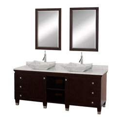Wyndham Collection - Eco-Friendly Six Drawer Bathroom Vanity in Espresso Finish - Includes natural stone counter, backsplash, two vessel sinks and matching mirror. Faucets not included. Engineered to prevent warping and last a lifetime. Highly water-resistant low V.O.C. finish. 12 stage wood preparation, sanding, painting and finishing process. Floor standing vanity. Deep doweled drawers. Fully extending bottom mount drawer slides. Two soft close concealed door hinges. Single hole faucet mount. Plenty of storage space. Brushed steel leg accents. Metal hardware with brushed chrome finish. White Carrera marble top. White Carrera marble sinks. Made from zero emissions solid oak hardwood. Vanity: 72 in. W x 22.5 in. D x 36 in. H. Mirror: 24.25 in. W x 36.25 in. H. Handling InstructionsCutting edge, unique transitional styling. A bridge between traditional and modern design, and part of the Wyndham Collection Designer Series by Christopher Grubb, the Premiere Single Vanity is at home in almost every bathroom decor, resulting in a timeless piece of bathroom furniture.