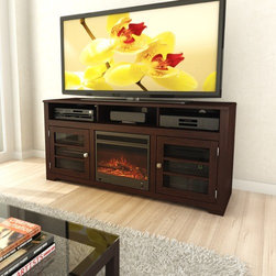 "dCOR design - West Lake 60"" TV Stand with Electric Fireplace - Features: -Natural looking fire logs and adjustable flames settings.-TV Size Accommodated: Accomodates up to 68"" TV.-Finish: Dark espresso.-Powder Coated Finish: No.-Gloss Finish: No.-Material: Real and engineered wood and metal.-Number of Items Included: 1.-Solid Wood Construction: No.-Distressed: No.-Exterior Shelves: Yes -Number of Exterior Shelves: 3.-Adjustable Exterior Shelves: No..-Drawers: No.-Cabinets: Yes -Number of Cabinets: 2.-Number of Doors: 2.-Door Attachment Detail: Hinges.-Interchangeable Panels: No.-Magnetic Door Catches: No.-Cabinet Handle Design: knobs.-Number of Interior Shelves: 4.-Adjustable Interior Shelves: Yes..-Scratch Resistant: No.-Ventilation Features: No.-Casters: No.-Fireplace Included: Yes -Fireplace Type: Electric..-Lighted: No.-Media Storage: Yes.-Remote Control Included: Yes.-Batteries Required: No.-Weight Capacity: 200 lbs maximim TV weight.-Swatch Available: Yes.-Commercial Use: No.-Collection: West Lake.-Recycled Content: No.-Lift Mechanism: No.-Expandable: No.-TV Swivel Base: No.-Integrated Flat Screen Mount: No.-Hardware Material: Metal.-Non-Toxic: No.-Country of Manufacture: Canada.Specifications: -ISTA 3A Certified: No.-CARB 2 Certified: Yes.-CARB Certified: Yes.-FSC Certified: No.-General Conformity Certified: No.-CSA Certified: No.-EPP Certified: No.Dimensions: -Overall Height - Top to Bottom: 28.25"".-Overall Width - Side to Side: 60"".-Overall Depth - Front to Back: 19"".-Shelving: -Shelf Width - Side to Side: 29"".-Shelf Depth - Front to Back: 19""..-Cabinet: Yes.-Overall Product Weight: 145 lbs.Assembly: -Assembly Required: Yes.-Tools Needed: Screwdriver.-Additional Parts Required: No.Warranty: -Product Warranty: 1 year warranty."