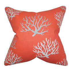 """The Pillow Collection - Hafwen Coastal Pillow Salmon - Use this bright coastal pillow to add a fresh vibe to your home. This accent pillow features a nautical-inspired pattern in shades of salmon, gray and white. This toss pillow is the perfect accessory for your sofa, bed or couch. This 18"""" pillow is made of 100% soft cotton fabric. Made in the USA."""