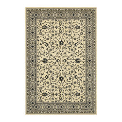 Karastan - Karastan Sierra Mar 35505-33014 (Kismet Ivory Black) 8' x 10' Rug - Comfortable, weathered, easy to live with color, is the signature style of the Sierra Mar collection, with relaxed patterns that complement both traditional and modern design. Woven in the U.S.A., the pure New Zealand worsted wool yarns have been specially twisted and space-dyed to create artful color 'stria' reminiscent of fine hand woven 'Peshawar' rugs.