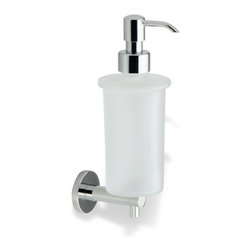 StilHaus - Wall Mounted Round Frosted Glass Soap Dispenser with Brass Mounting, Chrome - Wall mounted contemporary style round soap dispenser.