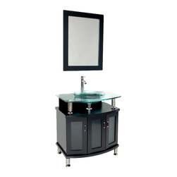 """Fresca - Fresca Contento 30"""" Modern Bathroom Vanity w/Tempered Glass Sink - You will feel like you are in an ultrachic, A-list restaurant powder room with the tempered glass basin hovering above the modern bathroom vanity. The octangular storage unit offers ample space for all your unmentionables. Linger in front to the mirror, gazing at your reflection and the beauty that is the Fresca Contento."""