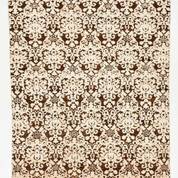 Rug Knots - Modern Oriental Rug without Borders Brown and White 8.8x9.9 - Just because this rug keeps a simple, neutral color scheme of brown and white doesn't mean it's boring at all. Deep contrast and intricate designs make this rug a visual delight. Creamy whites pop against a rich, chocolate brown background -- and physically stand out with a higher pile height, too. This handmade, hand-dyed rug features varying shades of brown, beige, and white throughout each fiber for a rustic, chic look. Dress up your dining room or add depth to a bland living room with this exciting rug