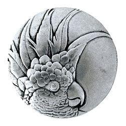 "Inviting Home - Small Cockatoo Knobs - left (brilliant pewter) - Hand-cast Small Cockatoo Knobs - left in brilliant pewter finish; 1-3/8"" diameter Product Specification: Made in the USA. Fine-art foundry hand-pours and hand finished hardware knobs and pulls using Old World methods. Lifetime guaranteed against flaws in craftsmanship. Exceptional clarity of details and depth of relief. All knobs and pulls are hand cast from solid fine pewter or solid bronze. The term antique refers to special methods of treating metal so there is contrast between relief and recessed areas. Knobs and Pulls are lacquered to protect the finish. Alternate finishes are available. Detailed Description: If you are intrigued by fashionable and playful accessories than you will love the Cockatoo pulls - they come in vertical and horizontal options which would bring amazing variety without having to search at all. You can use the vertical pulls on the cabinet doors and the horizontal pulls on the drawers. If you have any smaller drawers you could also work in the Cockatoo Knobs making it a complete collection while displaying variety."