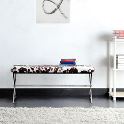 Inspire Q - INSPIRE Q Southport Cowhide Print 40-inch Metal Bench - Add additional seating and a beautiful conversation piece to your home with this contemporary chrome bench. The unique cowhide upholstery of this bench makes it an instant focal point in any decor. Chrome trestle legs complete the look of this bench.