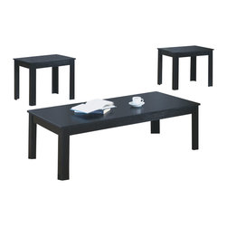 Monarch Specialties - Monarch Specialties I 7840P Black 3 Piece Coffee Table Set - This versatile three piece occasional table set brings casual functionality into your home, while unique parquet details add just a hint of traditional appeal. Quality black oak veneers are finished in a rich black for a durable surface that can be easily mixed in with existing living room decor. The two end tables can be tucked between your love seat and sofa, or placed next to a chair and topped with a lamp for a cozy reading nook that fits in your living room, bedroom or den. A rectangular coffee table completes this occasional table collection, providing a useful surface for any space. Cocktail Table (1), End Table (2)