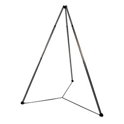 None - Portable Hammock Chair Tripod Stand - Take your hammock on the go with this portable hammock stand. This tripod stand can be staked into the ground and features adjustable legs, letting you set up your hammock in an instant. Foldable and weighing just 15 pounds, it's easy to travel with.