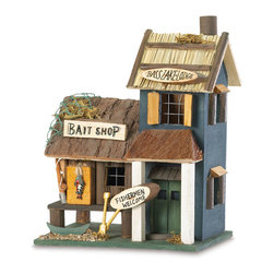 Koolekoo - Bass Lake Lodge Birdhouse - Multi-level Bass Lake Lodge sports fishing-themed accents reminiscent of a lakeside retreat.