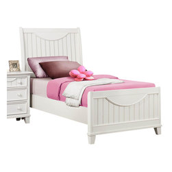 Homelegance - Homelegance Alyssa Kids' Panel Bed in White - Twin - Cottage styling lends itself to the Alyssa Collection. Finished in a simple cottage white or warm brown cherry bead board accents the end panels and top drawers of each case piece while coordinating knobs punctuate each drawer. Offerings include Full Queen and King beds. The Alyssa collection is a quaint addition to your home.