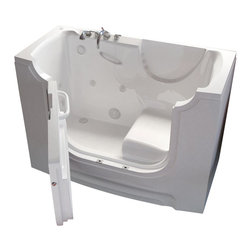 Spa World Corp - Meditub 30x60 Left Drain White Whirlpool Jetted Wheelchair Accessible Bathtub - Meditub's walk-in bathtub offers safety and independence in an elegant package. Featuring safety features such as a built in color matched grab bar, non-slip floor texture and a wide swinging door for easy entering and exiting of the tub. Fusing the industry�s highest standards for quality construction with an inspired artistic vision offering a beautifully glossy finish reinforced with a stainless steel frame and 6 adjustable legs for leveling. Also included is an ADA compliant contoured seat for comfortable support.