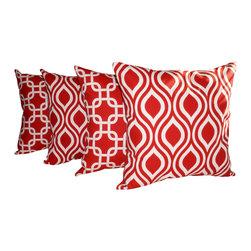 Land of Pillows - Nicole Lipstick Red and Gotcha Lipstick Red Decorative Throw Pillows - Set of 4, - Fabric Designer - Premier Prints