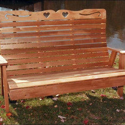 Fifthroom - Cedar Royal Country Hearts Garden Bench - Our Royal Country Hearts Garden Bench is both comfortable and fashionable. With its intricately carved heart-and-scroll pattern, this handcrafted red cedar bench is incredibly durable.  The luxuriously high and contoured back provides heavenly lumbar support.  The deep, comfortable seat conforms to the natural curves of your body. The Country Hearts Garden Bench is truly a majestic throne.