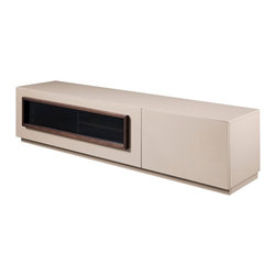 JNM Furniture - TV112  Modern TV Stand in Taupe Lacquer Finish - Crafted in a Taupe high gloss finish, the TV112 is a work of elegant simplicity. This tv base has an opening to accommodate media units, and features a deep drawer with soft closing tracks for storage.