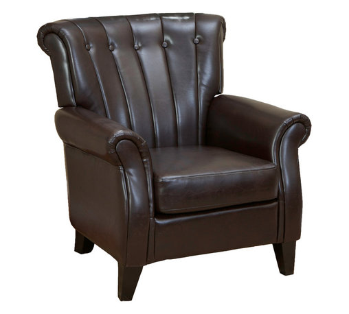 Great Deal Furniture - Barron Leather Club Chair - With its wide stance and overall soft padding, the Barron Leather Club Chair combines modern vertical tufting and classic club chair elements to create one stunning chair.