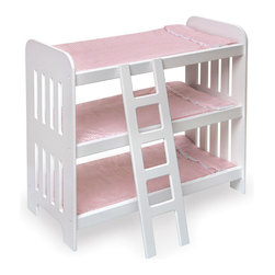 "Badger Basket - Triple Doll Bunk Bed with Ladder and Pink Gingham Mats - Tuck them in (twice) and three kisses good night! Our triple bunk bed is ideal for when friends come to play or if you have a large doll family of your own. Your sleepy ""kids"" will enjoy the pink gingham padded mats with attached, lace-trimmed pillows. Also includes a ladder to get everyone to their bunks on time! Glossy white finish on the bed frame.; For Doll Size: 20""; Weight: 12.3 lbs; Dimensions: 22.5x11.5x22"