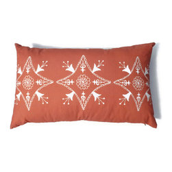 Orange Kidney Pillow Suzani Moroccan African 15 x 24 - Suzani Throw Pillow in Tangerine / Burnt Orange Color and Off White Print. This is one of my original textile designs printed on 6 oz weight cotton fabric. Back side is solid orange and this pillow has an invisible zipper for easy access. Can be machine washed separately on delicate cycle, cold water with non-phosphate detergent and line dried. However, dry cleaning is recommended for best result. (Style: Suzani Tile)