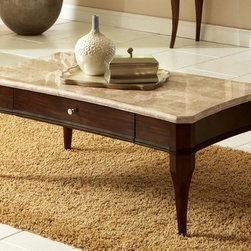 Steve Silver Co. - Marseille Cocktail Table w Marble Top - Transitional style. Convex shaped top. One storage drawer. Tongue and groove joints. Corner blocked construction. Tapered legs. Made from poplar veneers and select hardwoods. 50 in. W x 28 in. D x 20 in. H (70 lbs.)An elegant marriage of contemporary and traditional styling, this graceful Marseille End table with its transitional styling will add sophistication to any room.