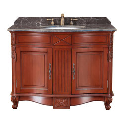 "Bosconi - 42"" Bosconi T-3687 Single Vanity - Just right for your guest bath, this classically crafted, all-wood vanity features a dark marble countertop, antique brass hardware, a rich red antique finish and a two-door under-sink cabinet."