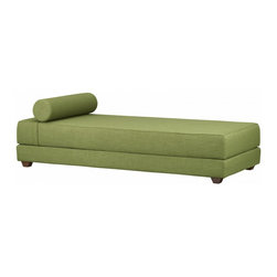 "CB2 - Lubi Olive Daybed - Do you have Barcelona (Pavilion) taste on a beer budget? Then this convenient daybed is for you. use it as a chaise or flip it out into a queen-sized bed when you have overnight guests.Stacked twin sleeper unfolds to an oversized queen bed that takes king sheetsKiln-dried hardwood frame with molded wood slatsPolyester fabric: oliveHigh elastic polyurethane cell foam cushionSolid beech feet Head rest pillow includedDaybed: 79""Wx32.5""Dx25.5""H (17.25""H seat). Bed: 79""Wx64.5""Dx8.5""H"