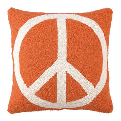 PHI - PHI Peace Sign Pillow-Orange - Orange Peace Sign Pillow by PHI.