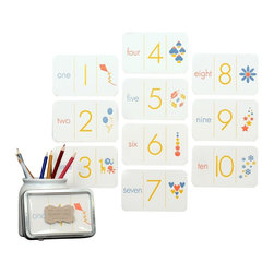 Ruff House Art - Number Flash Cards - The Letterpress Number Flash Cards take kids from reciting their numbers to connecting meaning to those numbers. Starting with learning to count objects, connected that with the number form and then with word association. Our number cards have put all the elements of numbers : The Word, The Number & Counting : onto one card. Kids can now count that there are 6 apples and know that the number next to it must be a 6 and that SIX must also represent six. Deep, Crisp impressions also allow them to trace the numbers to begin learning to write each one. In addition, they can count how many blue apples, red apples and yellow apples there are that make up the 6 total apples. Once they catches on to learning the numbers, they can work on ordering them from 1-10.