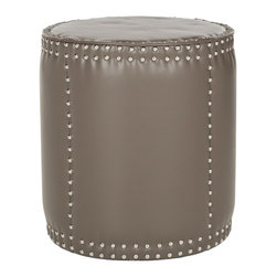 Safavieh - Paula Ottoman - Clay - The rustic-chic Paula ottoman complements contemporary and transitional interiors with its tall drum shape, oversized brass nailhead trim and easy care clay-toned bicast leather upholstery.