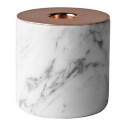 Menu - Chunk of Marble Candleholder by Menu - Tough on the outside, romantic on the inside. That's how designer Andreas Engesvik describes his Chunk collection of candleholders. The Menu Chunk of Marble Candleholder pairs a generously veined block of polished marble with a top plate of warm, reflective copper. The opening supports a single taper candle. Menu, headquartered in Denmark, partners with designers to develop and produce a broad assortment of Scandinavian living accessories for the dining room, living room, kitchen, and garden.
