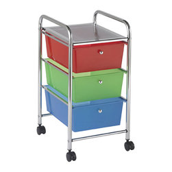 Ecr4kids - Ecr4Kids Preschool File Cart With 3 Drawer Rolling Mobile Organizer, Assorted - A 3-Drawer practical organizer that holds just about everything - art and crafts, office supplies or even hand tools This practical organizer can hold just about everything from art and crafts projects to office supplies or even hand tools With 3 extra-deep drawers its easy to store oversized items in your home, office or garage. Polypropylene drawers easily slide in and out on the chrome plated steel frame rails. This multi-purpose organizer rolls effortlessly into narrow spaces on 4-swivel casters (2-locking). Cart capacity is 30lbs 14kgs. Also available in Assorted (AS) Color.NOTE Intended for Adult use only. Also available in Multi-Color style, sold separately.Unit only - Accessories not included unless noted.