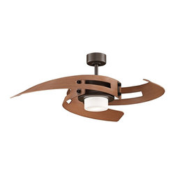"""Fanimation - Contemporary 52"""" Fanimation Avaston  Oil-Rubbed Bronze Ceiling Fan - Luxe warm colors and gently curved blades make the Avaston oil-rubbed bronze ceiling fan stand out and get noticed within your modern decor. This fan is UL rated for damp locations. A hand-held remote control is also included. Part of the Fanimation collection. 3-speed ceiling fan with light. Oil-rubbed bronze finish. Three cherry finish blades. 52"""" blade span. Motor is 172 x 20mm with limited lifetime warranty. UL rated for damp locations. Contemporary integrated light kit. Includes two 50 watt E11 halogen bulbs. Hand-held remote control with wall mount included. Includes 6"""" downrod. Fan height 17 1/4"""" ceiling to bottom of light kit (with 6"""" downrod). Hanging weight 28 1/2 pounds. (ON UM)  Oil-rubbed bronze motor finish.  Three cherry finish blades.  52"""" blade span.   Motor is 172 x 20mm with limited lifetime warranty.  UL rated for damp locations.  3-speed ceiling fan with light.  Hand-held remote control with wall mount included.  Contemporary integrated light kit.   Includes two 50 watt E11 halogen bulbs.  Cap for non kit use included.  Includes 6"""" downrod.  Fan height 17 1/4"""" ceiling to bottom of light kit (with 6"""" downrod).   Minimum 9 ft. ceiling required."""