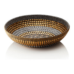 Black Silver Gold Small Bowl Decor - Elegantly edgy hardware in graduated sizes and a sophisticated mix of metal patinas forms the broad bands of this shallow round decorative bowl. The concentric rings are finished in cloudy chrome silver, upscale gunmetal black, and burnished antique gold. A textural, beaded effect is conferred by the intricate detail of the round studs that comprise the bowl's walls, which brings a restrained and understated glitter to a transitional space.