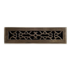 """Brass Elegans 120B AB Brass Decorative Floor Register Vent Cover - Victorian Scr - This antique brass finish solid brass floor register heat vent cover with a victorian scroll design fits 2 1/4"""" x 12"""" x 2"""" duct openings and adds the perfect accent to your home decor."""