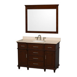 "Wyndham Collection - Wyndham Collection 48"" Berkeley Dark Chestnut Single Vanity w/ Ivory Marble Top - If your bathroom's asking you for a facelift, the Berkeley is a worthy choice. At once elegant, classic and contemporary, the Berkeley vanity lends an air of sophistication and charm to any bathroom, from a Soho penthouse to a rustic country home. Carefully hand built to last for decades and finished in White or Dark Chestnut, this solid wood vanity is trimmed with brushed chrome hardware to compete the timeless look. Available in multiple sizes and finishes."