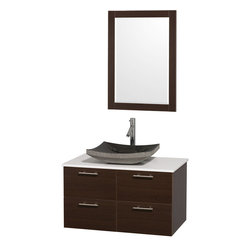 Wyndham - Amare 36in. Wall Vanity Set in Espresso w/ White Stone Top & Black Granite Sin - Modern clean lines and a truly elegant design aesthetic meet affordability in the Wyndham Collection Amare Vanity. Available with green glass or pure white man-made stone counters, and featuring soft close door hinges and drawer glides, you'll never hear a noisy door again! Meticulously finished with brushed Chrome hardware, the attention to detail on this elegant contemporary vanity is unrivalled.