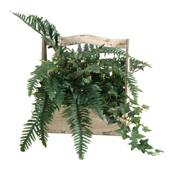 """D&W Silks - Artificial Fern and Ivy in Wooden Fleur-De-Lis Planter - It's amazing how much adding a plant can change the look of a room or decor, but it can be difficult if your space is not conducive to growing plants, or if you weren't exactly born with a """"green thumb."""" Invite the beauty of nature into your home without all the upkeep with this maintenance-free, allergy-free arrangement of artificial fern and ivy in a wooden fleur-de-lis planter. This is not a living plant."""