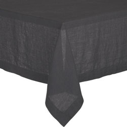 "Helena Graphite 60""x120"" Tablecloth - Lightweight 100% linen tablecloths in beautifully vibrant solids are pre-washed for extra softness. Tailored with 2"" hems and mitered corners for a neat, finished look."