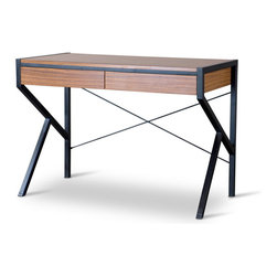Wholesale Interiors - Baxton Studio New Semester Study Desk - Our New Semester Study Desk encourages an uncluttered approach to schoolwork, letter writing or computer-related tasks. modern, straightforward design incorporates a coffee-and-black color combo designed to look great in family rooms, Bedrooms and home offices. Two drawers stock paper, pens, pencils�you name it. black powder-coated steel tube offers firm footing and great looks. Definitely not old school!